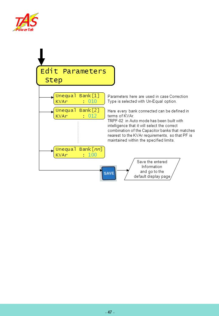 Edit Parameters Step Unequal Bank[1] KVAr : 010 Unequal Bank[2]